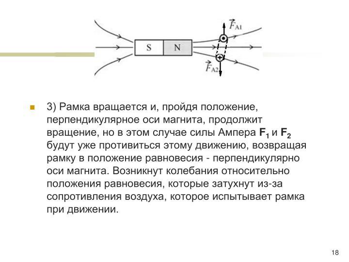 3) Рамка вращается и, пройдя положение, перпендикулярное оси магнита, продолжит вращение, но в этом случае силы Ампера