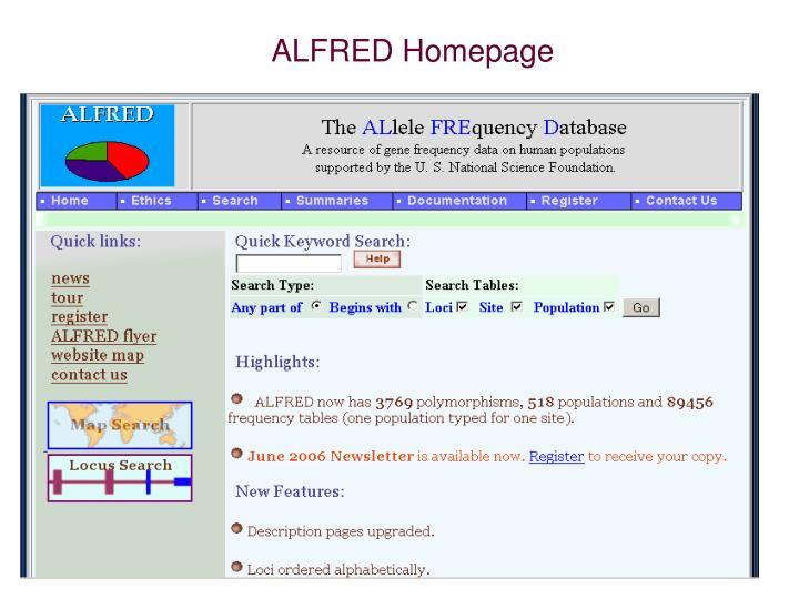 ALFRED Homepage