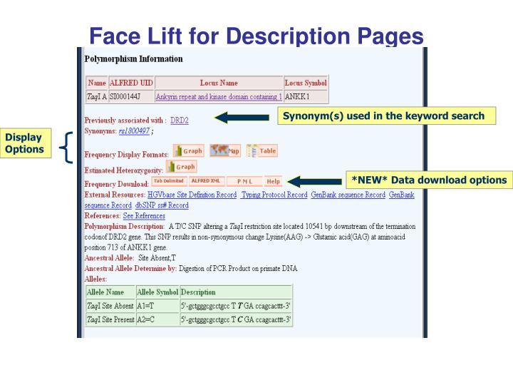 Face Lift for Description Pages