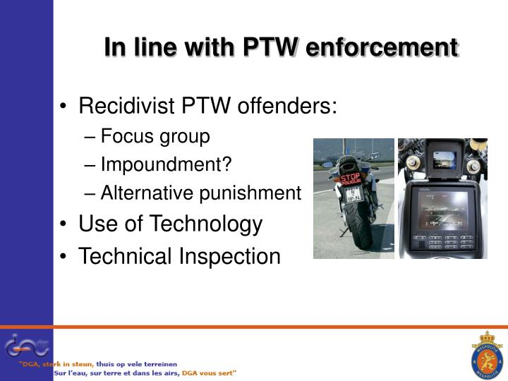 In line with PTW enforcement