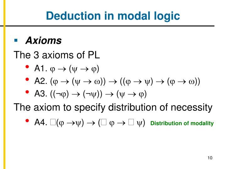 Deduction in modal logic