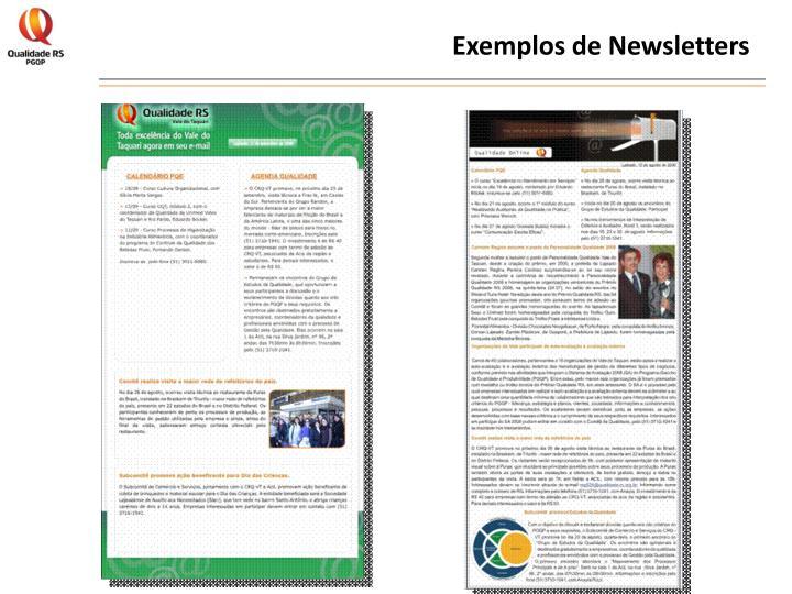 Exemplos de Newsletters
