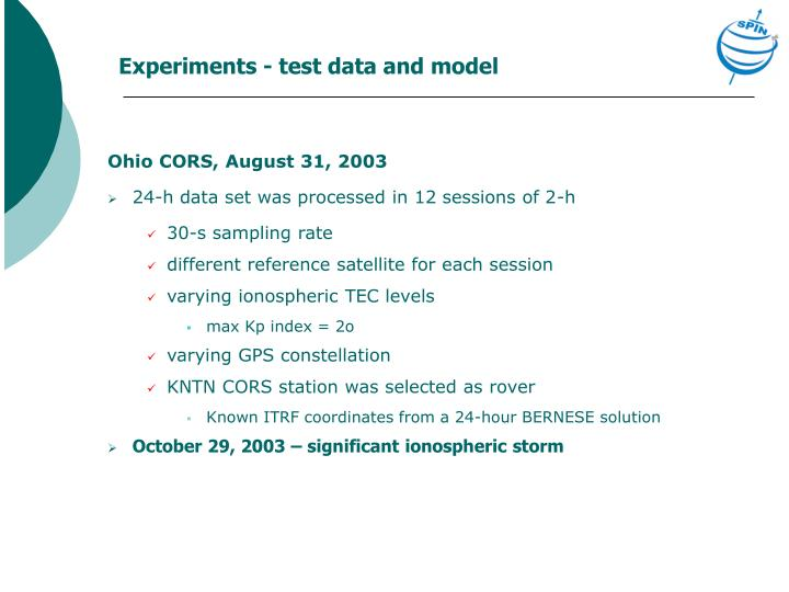 Experiments - test data and model