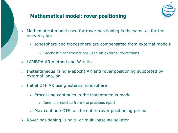 Mathematical model: rover positioning