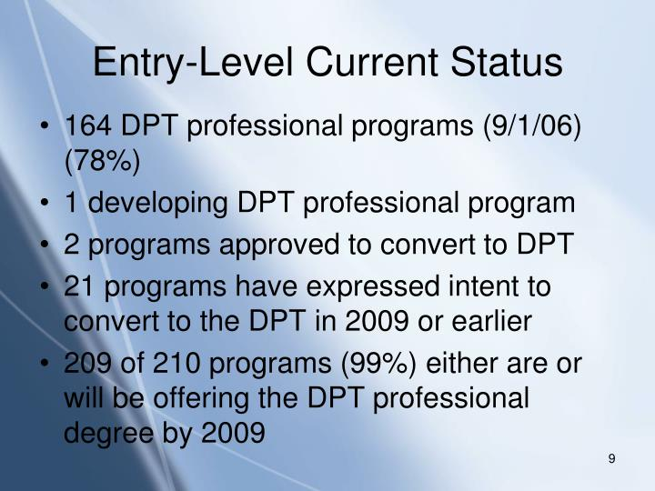 Entry-Level Current Status