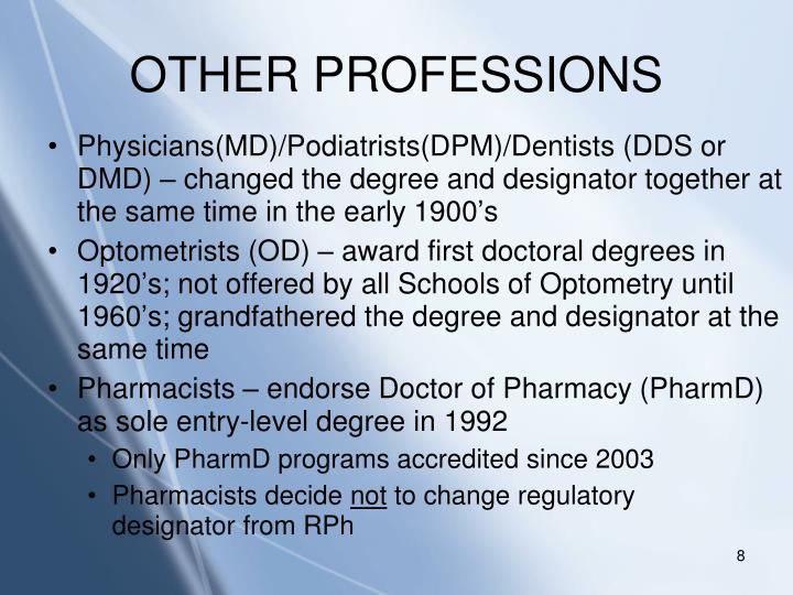 OTHER PROFESSIONS
