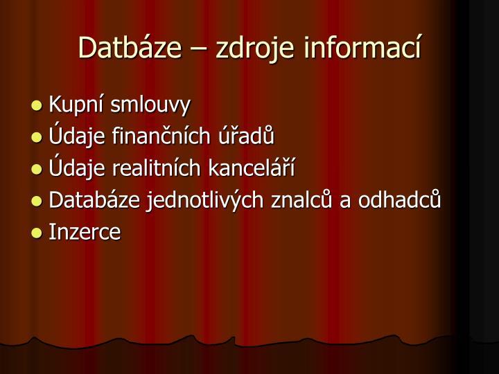 Datbáze – zdroje informací