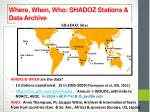 where when who shadoz stations data archive