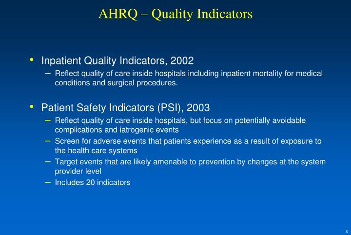 AHRQ – Quality Indicators