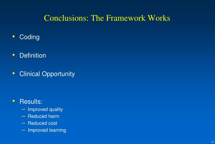 Conclusions: The Framework Works