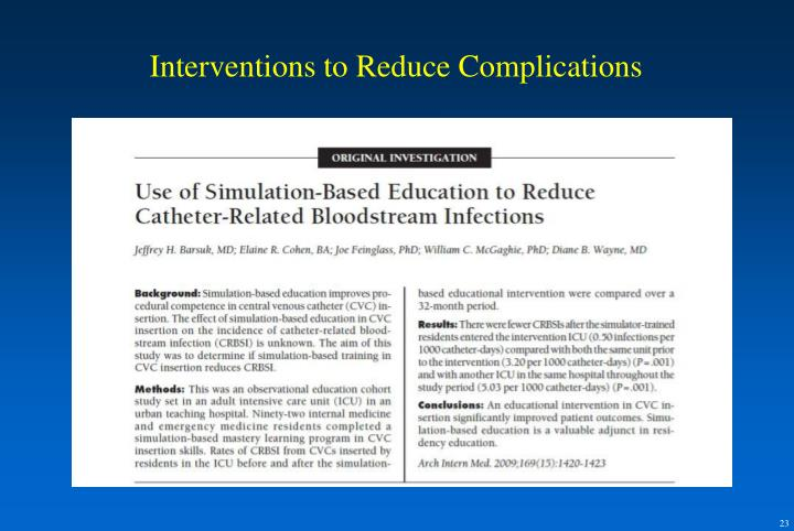 Interventions to Reduce Complications