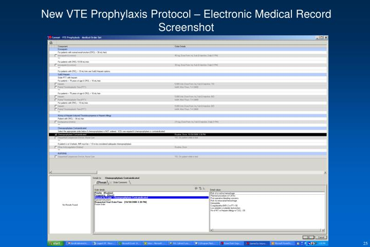 New VTE Prophylaxis Protocol – Electronic Medical Record Screenshot
