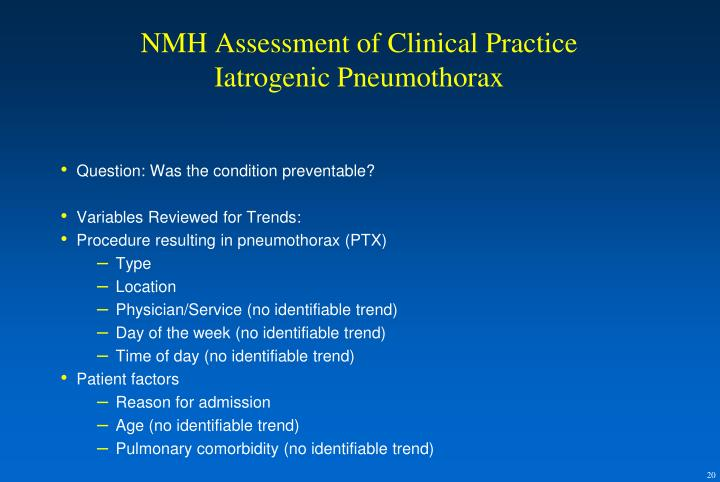 NMH Assessment of Clinical Practice