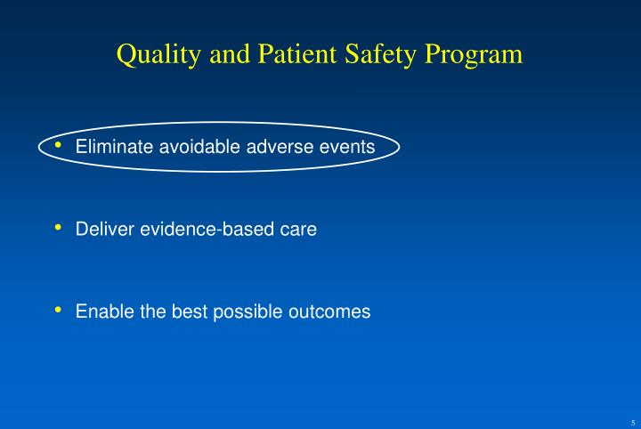 Quality and Patient Safety Program