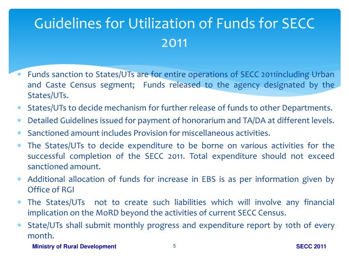 Guidelines for Utilization of Funds for