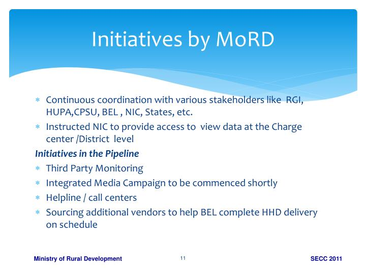 Initiatives by MoRD