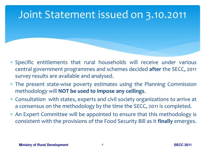Joint Statement issued on 3.10.2011