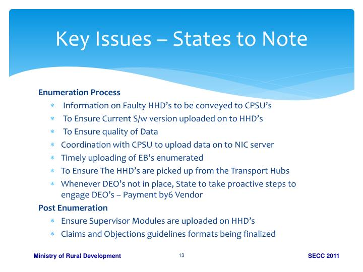 Key Issues – States to Note