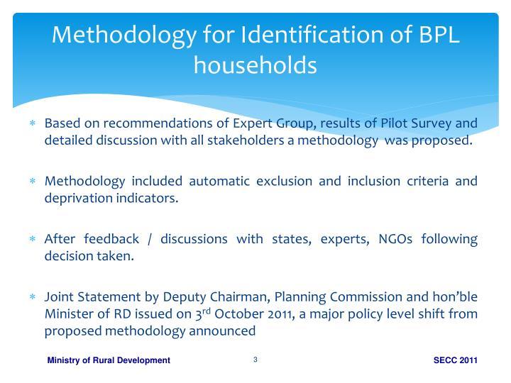 Methodology for Identification of BPL households