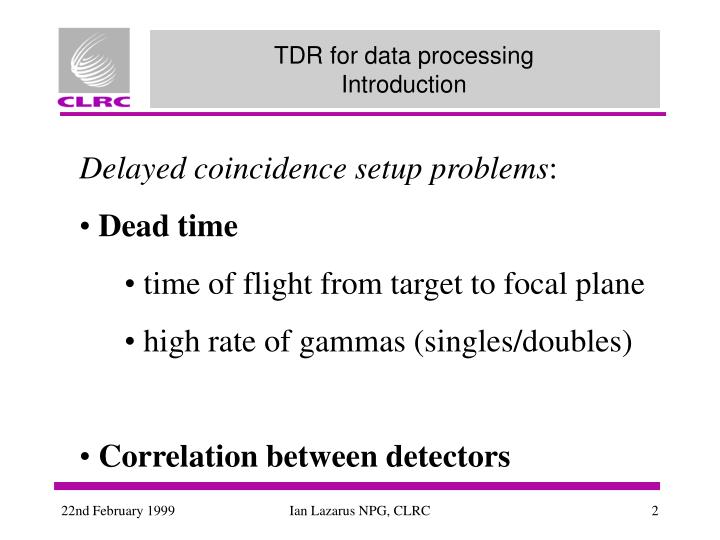 Tdr for data processing introduction