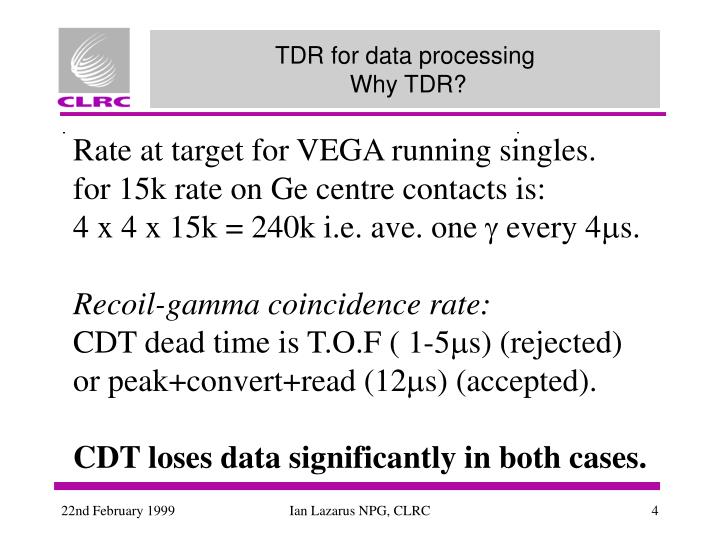 TDR for data processing
