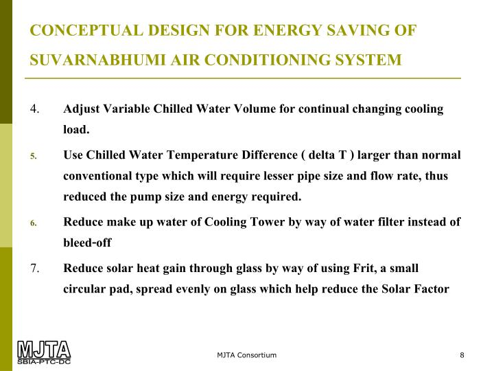 CONCEPTUAL DESIGN FOR ENERGY SAVING OF SUVARNABHUMI AIR CONDITIONING SYSTEM
