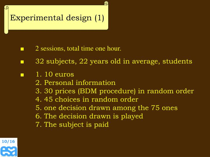 Experimental design (1)