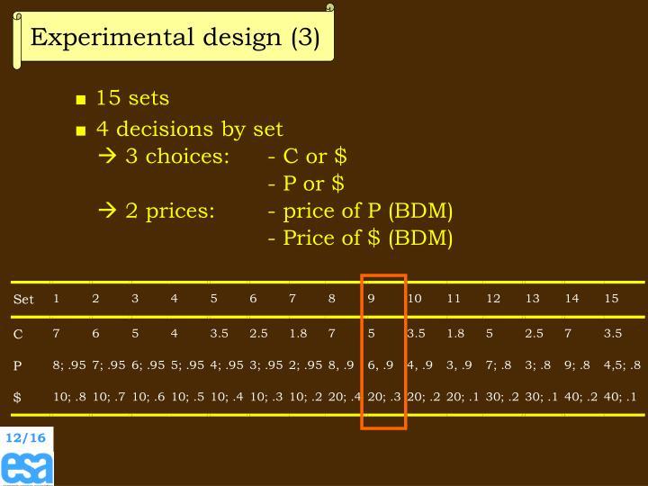 Experimental design (3)