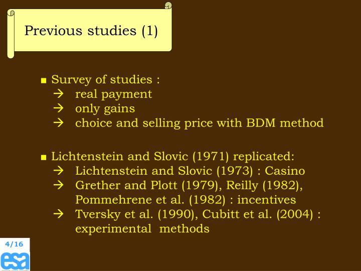 Previous studies (1)