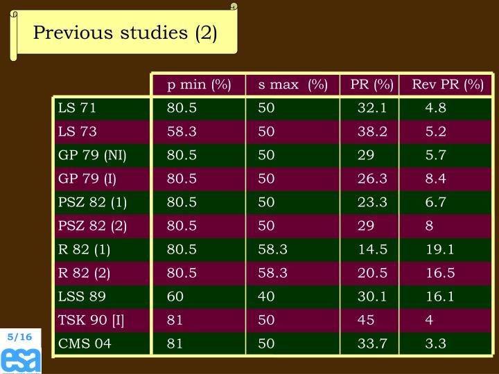 Previous studies (2)