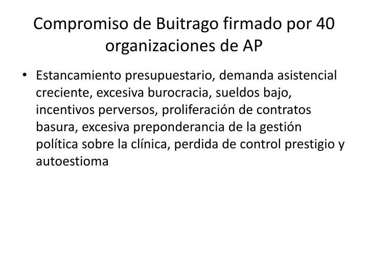 Compromiso de Buitrago firmado por 40 organizaciones de AP