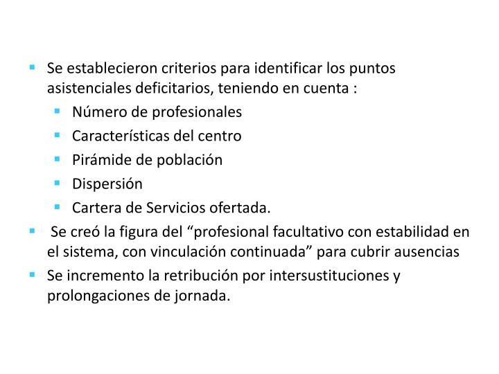 Se establecieron criterios para identificar los puntos asistenciales deficitarios, teniendo en cuenta :