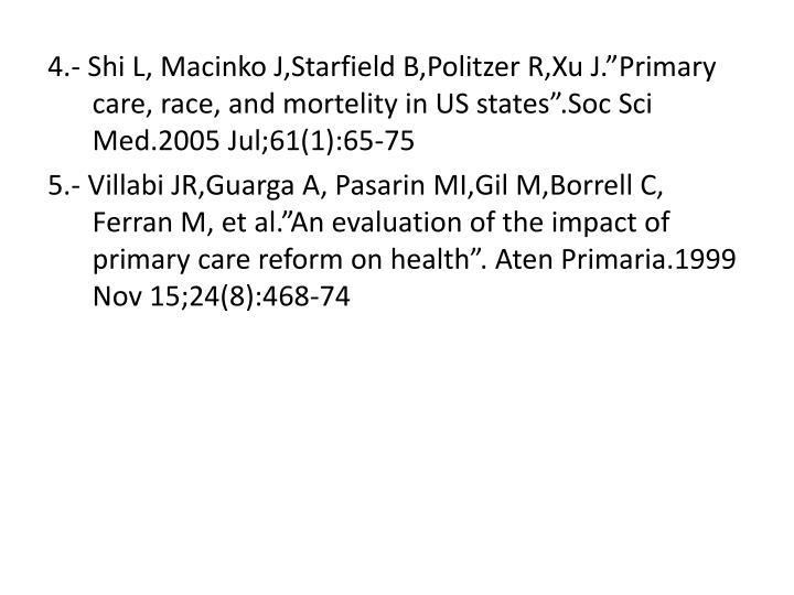 """4.- Shi L, Macinko J,Starfield B,Politzer R,Xu J.""""Primary care, race, and mortelity in US states"""".Soc Sci Med.2005 Jul;61(1):65-75"""