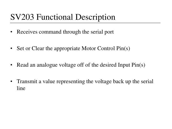 SV203 Functional Description