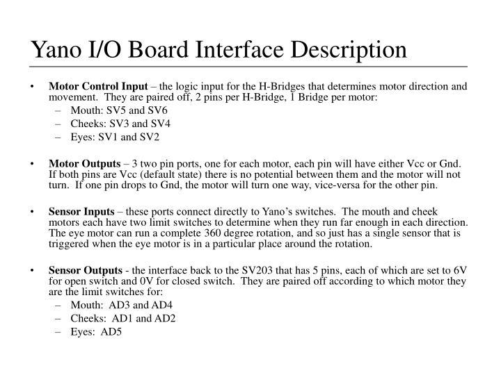 Yano I/O Board Interface Description