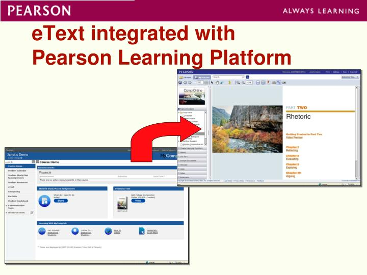 eText integrated with Pearson Learning Platform