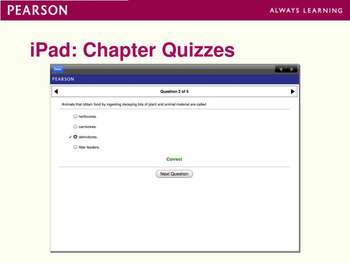 iPad: Chapter Quizzes