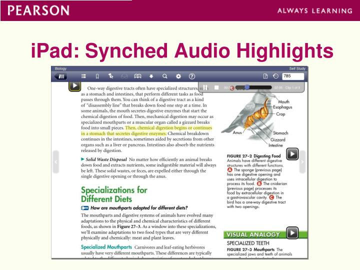 iPad: Synched Audio Highlights