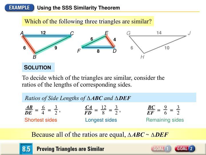 Using the SSS Similarity Theorem