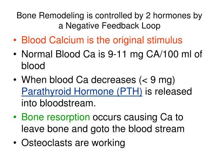 Bone Remodeling is controlled by 2 hormones by a Negative Feedback Loop