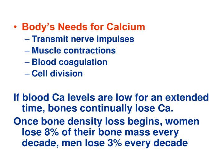 Body's Needs for Calcium