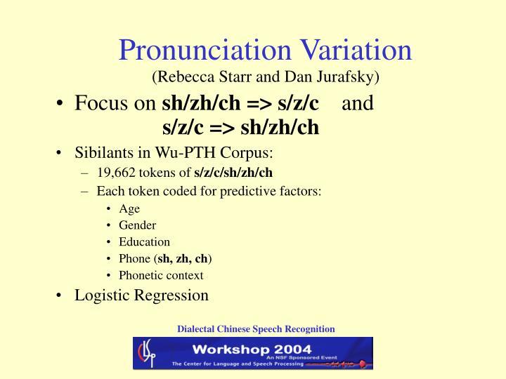Pronunciation Variation