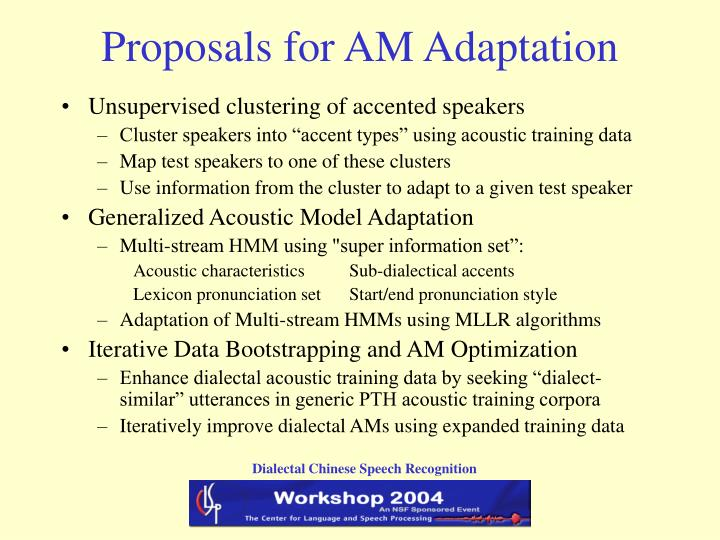Proposals for AM Adaptation