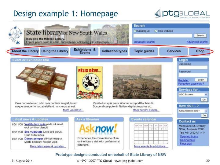 Design example 1: Homepage