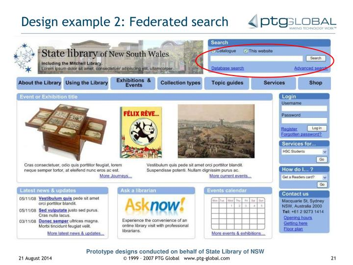 Design example 2: Federated search