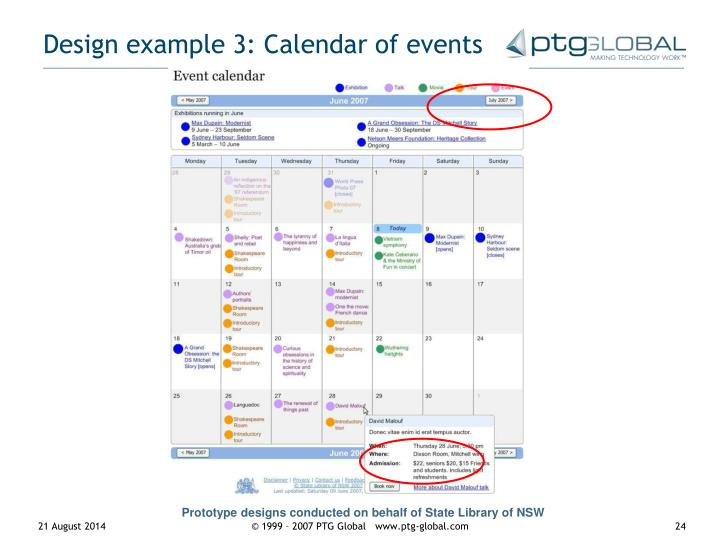 Design example 3: Calendar of events