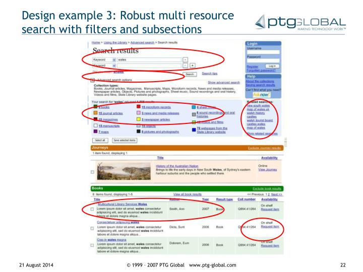 Design example 3: Robust multi resource search with filters and subsections