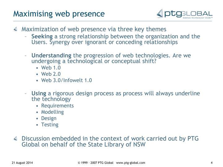 Maximising web presence