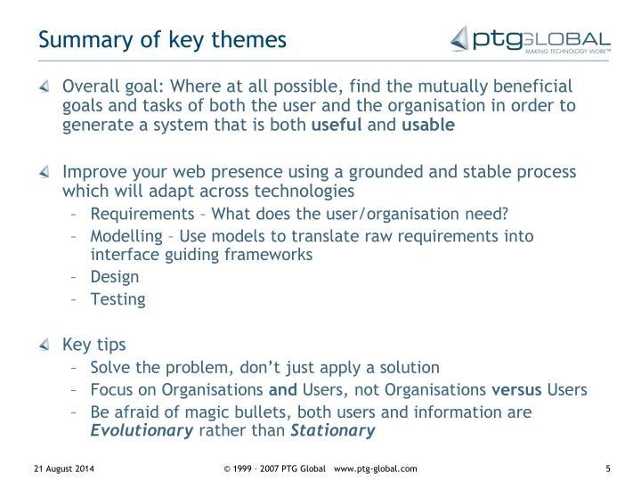 Summary of key themes