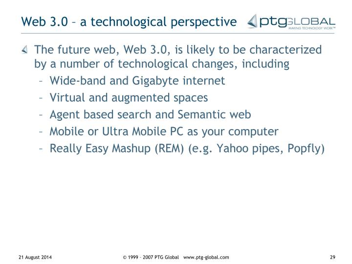 Web 3.0 – a technological perspective